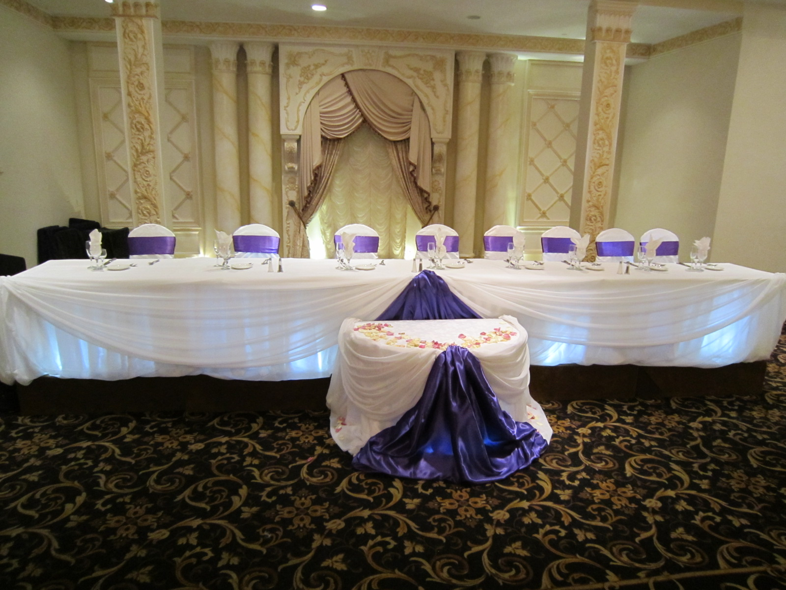 Purple Head Table Draping