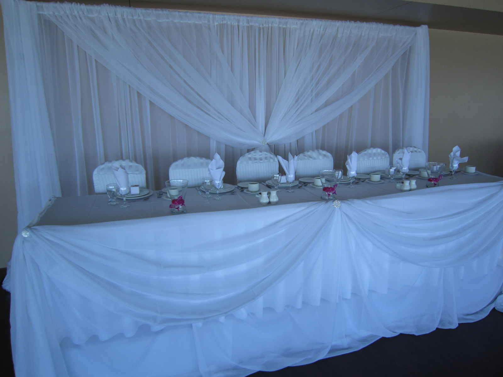 White Wedding Decor With Some Bling