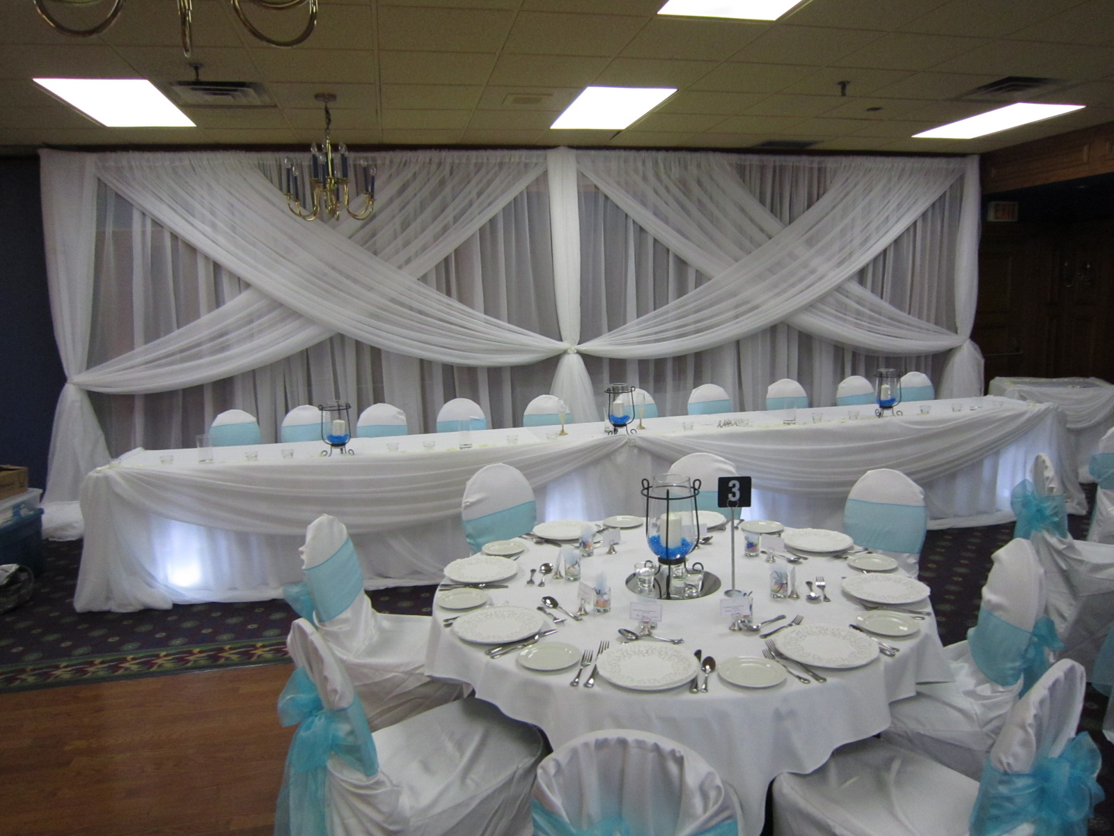 Blue and white wedding decor backdrop head table and for Baby blue wedding decoration ideas