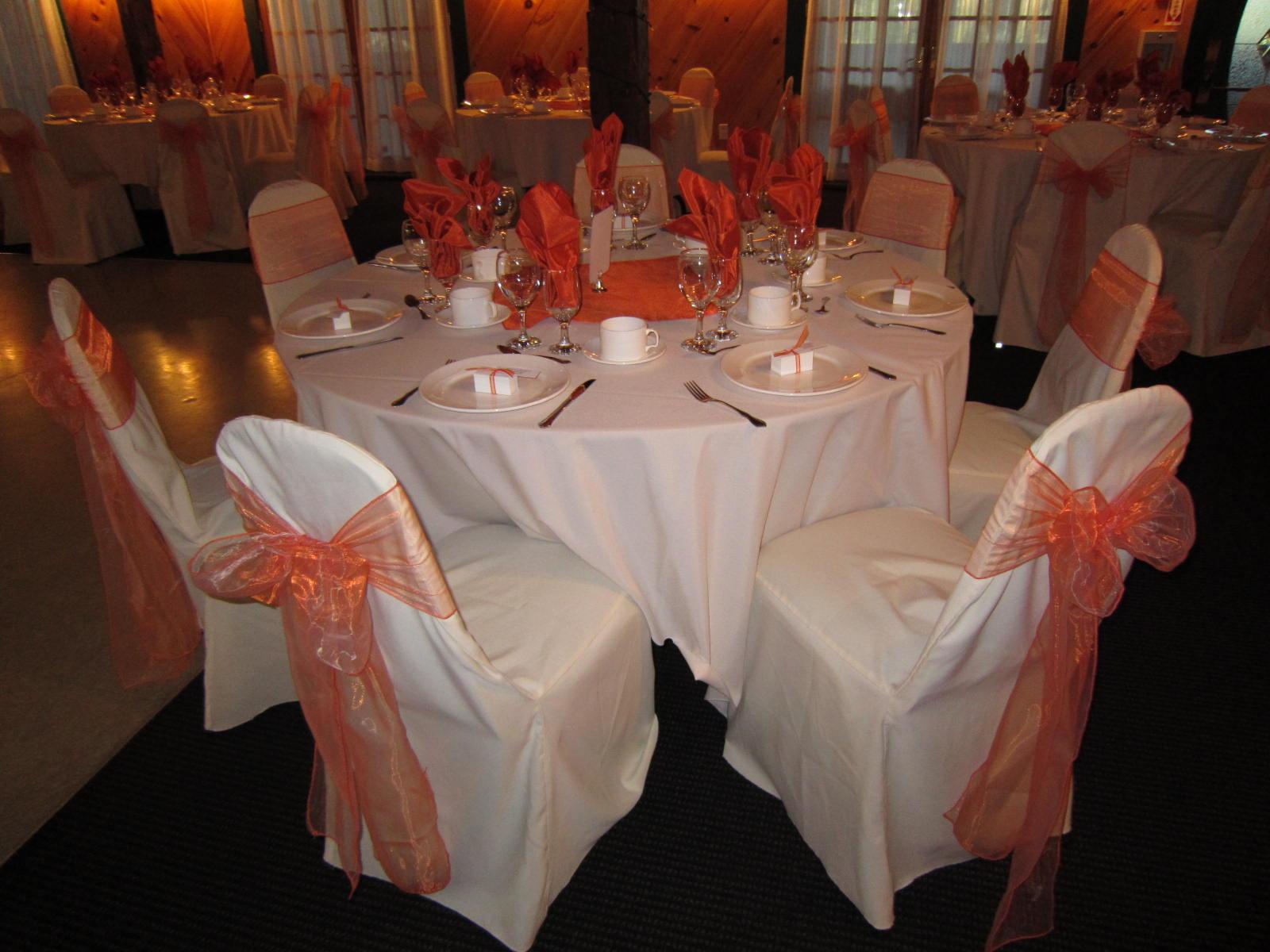 Head Table Draped With Orange Set The Mood Decor