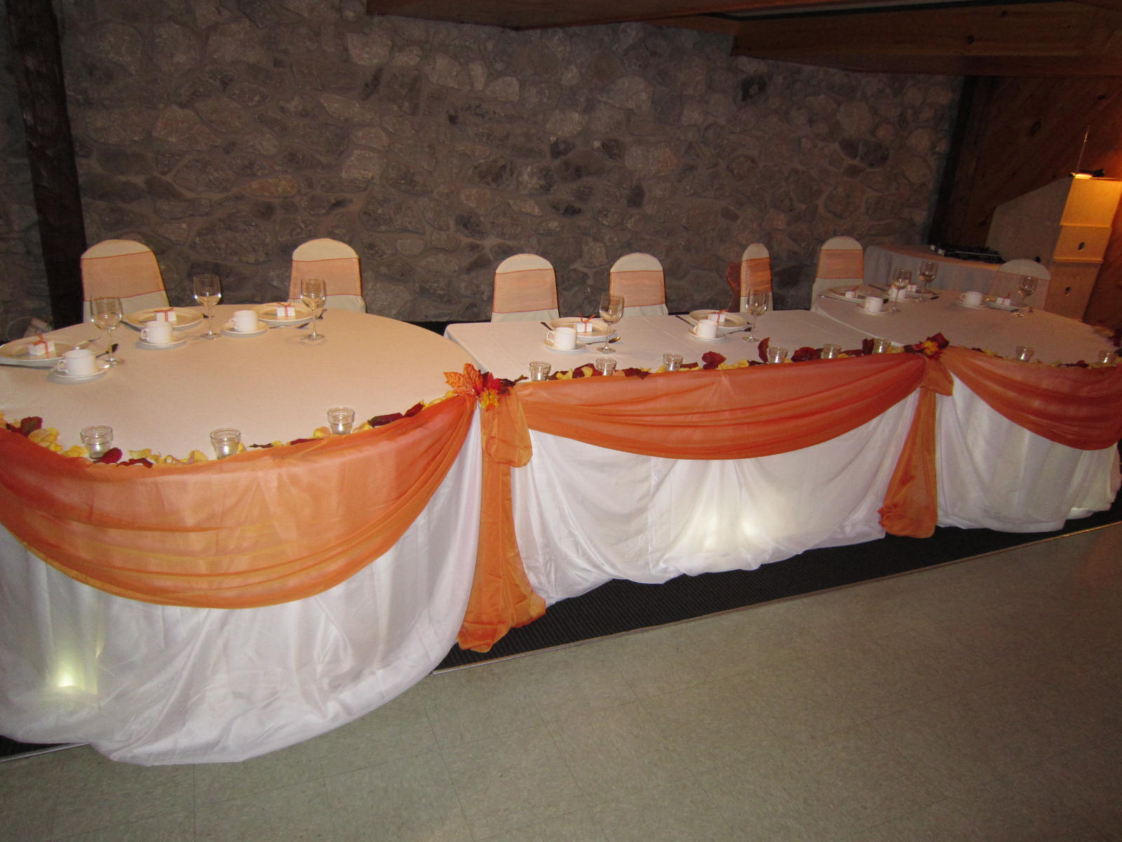 Fall wedding head table decorations