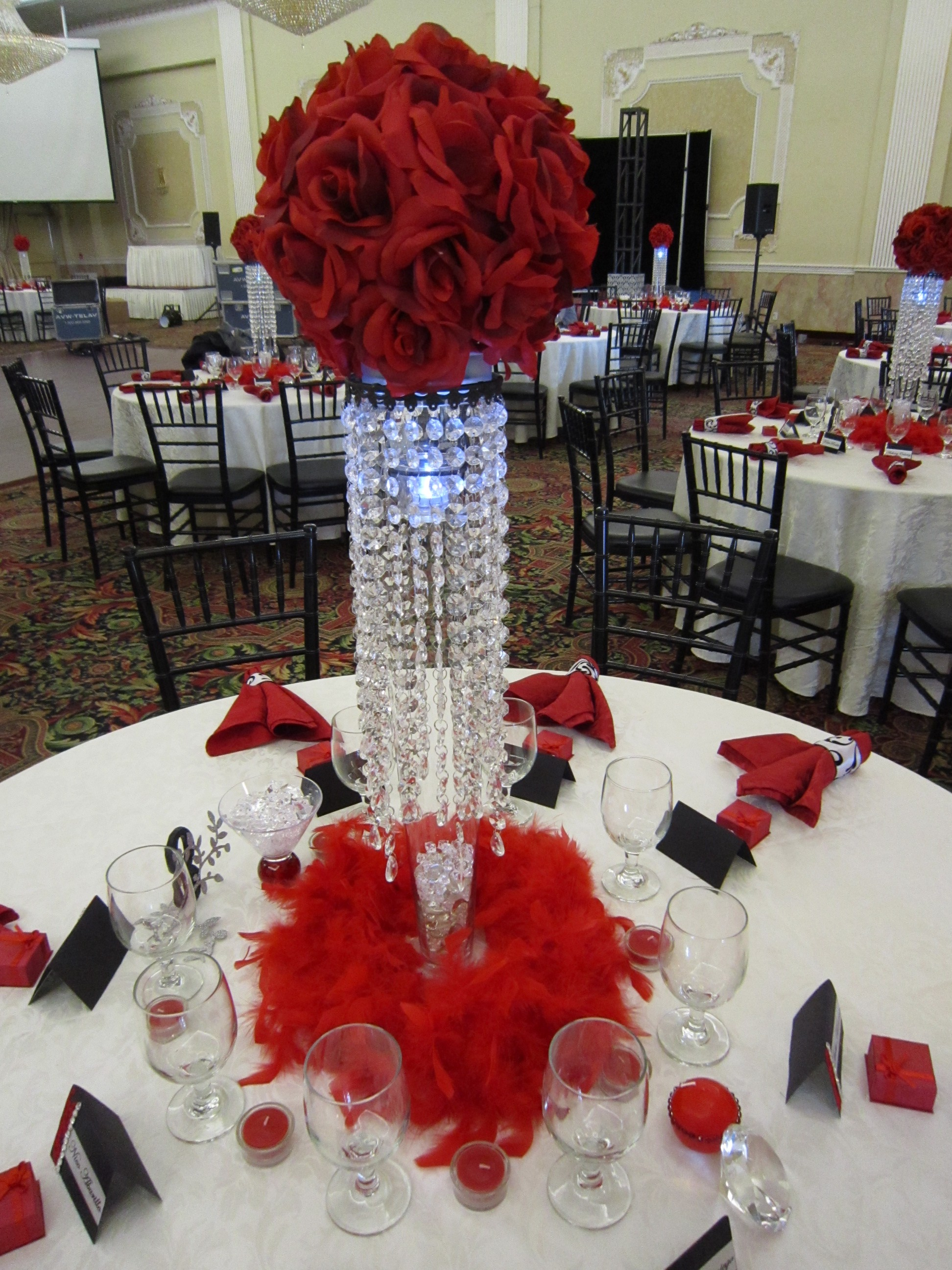18th birthday party with red rose ball crystal centerpieces set the mood decor. Black Bedroom Furniture Sets. Home Design Ideas