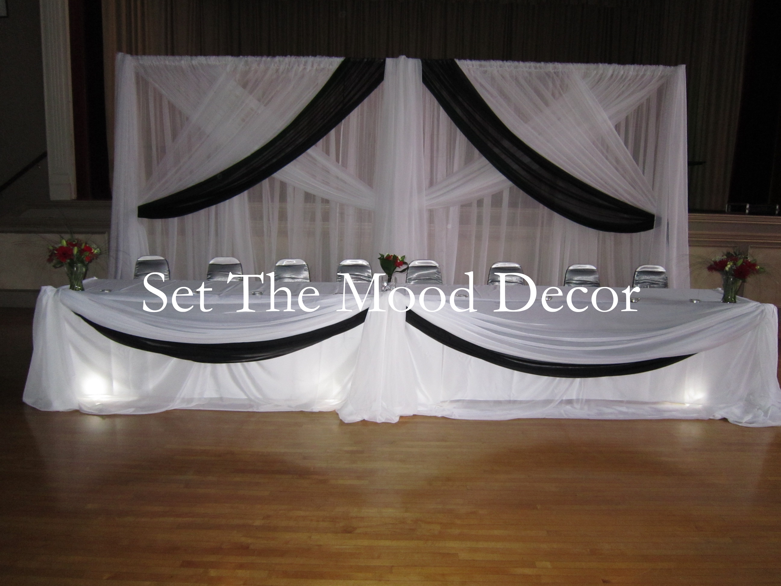 Black And White Head Table Draping Set The Mood Decor