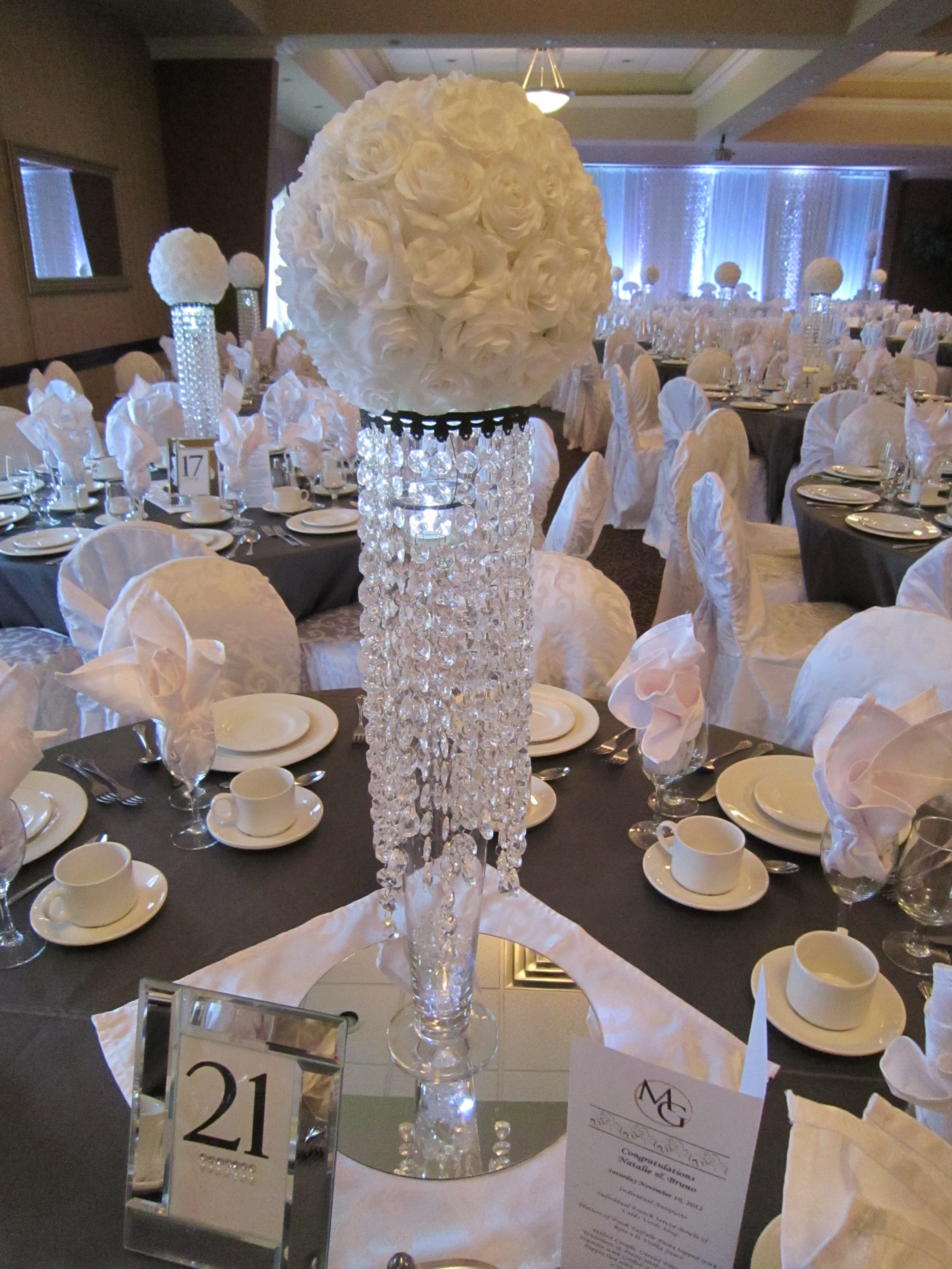 White Sparkle Wedding Bling Centerpieces With Rose