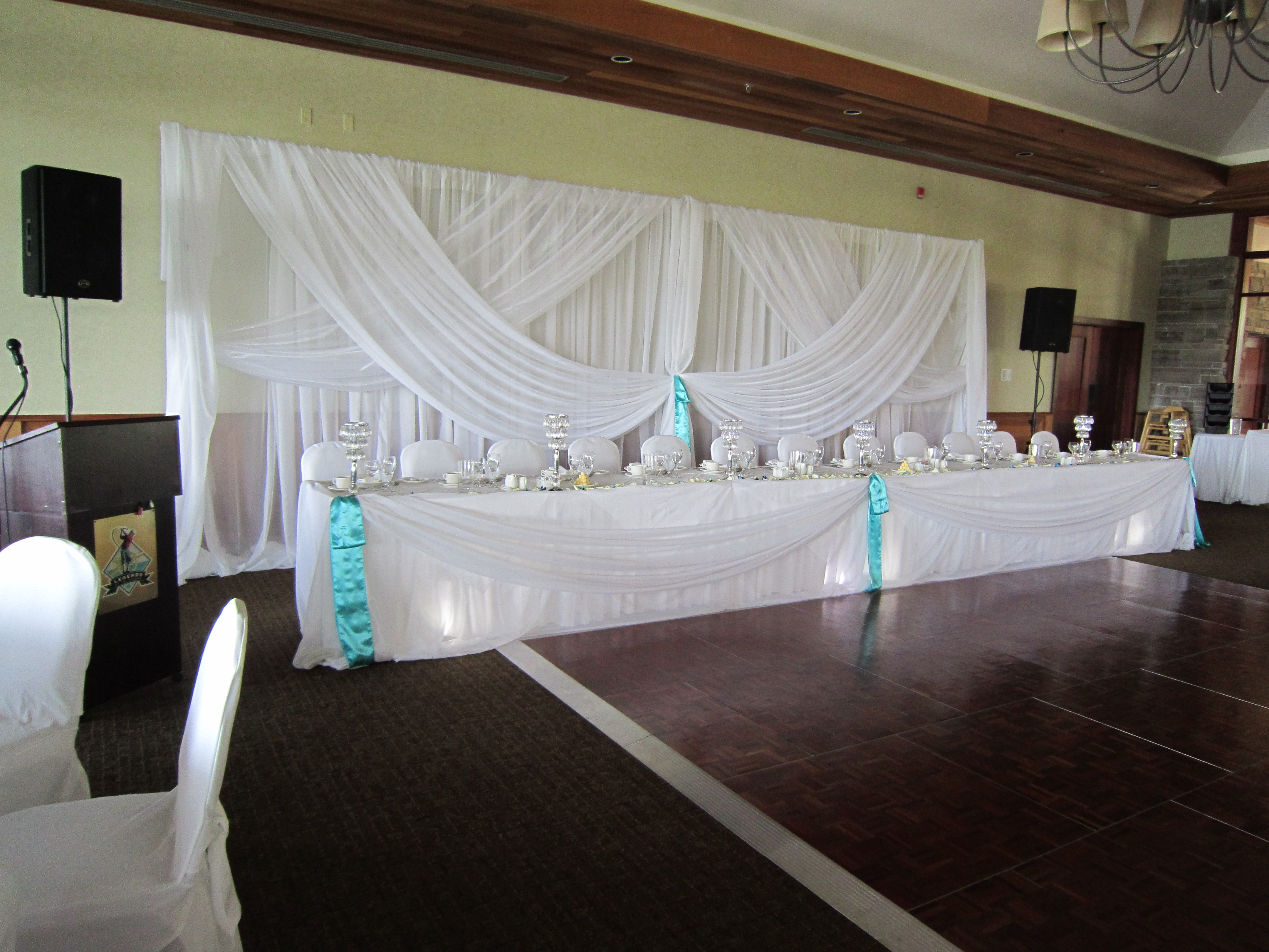 Head Table Draping With Spot Lights Set The Mood Decor