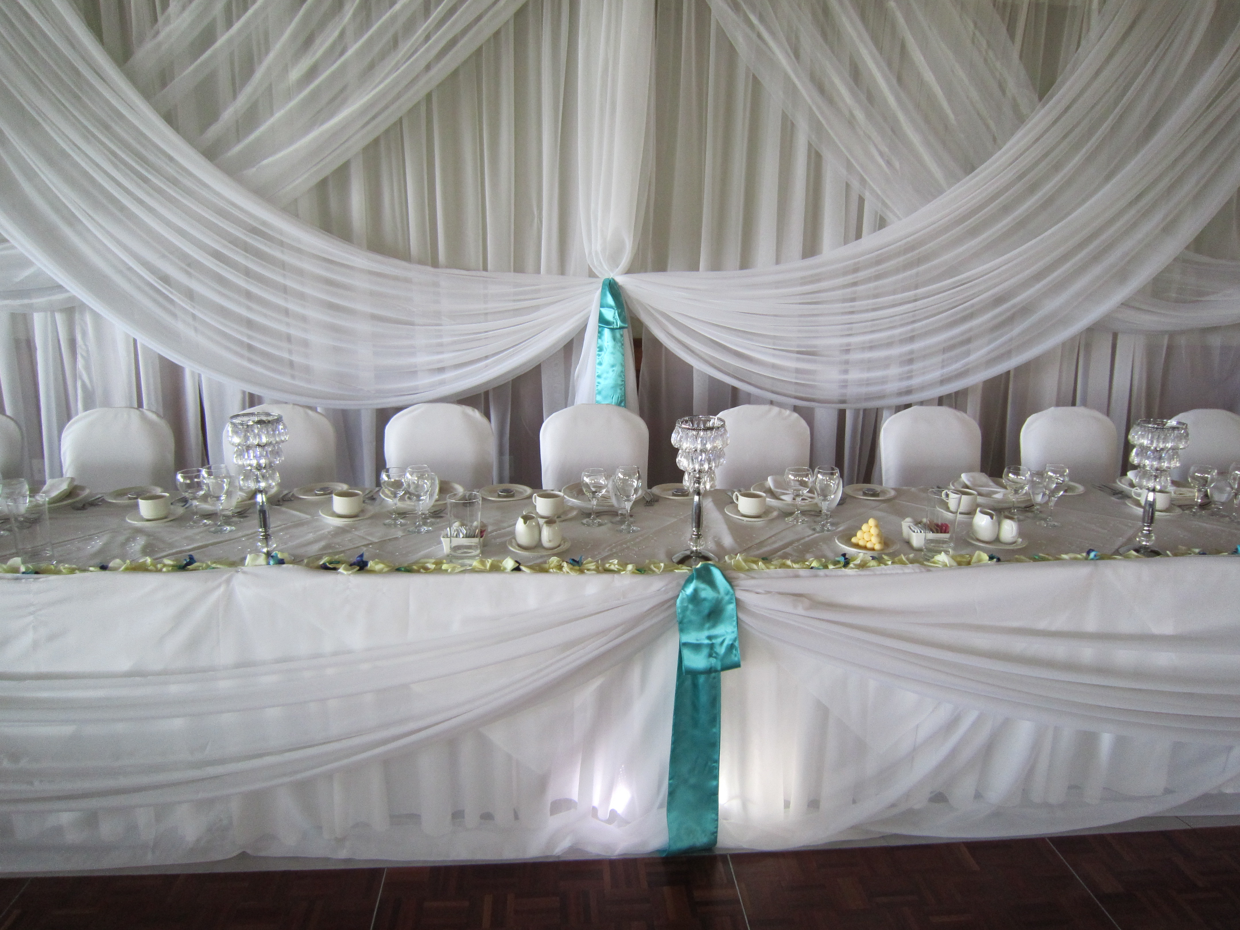 Head Table Draping With Spot Lights
