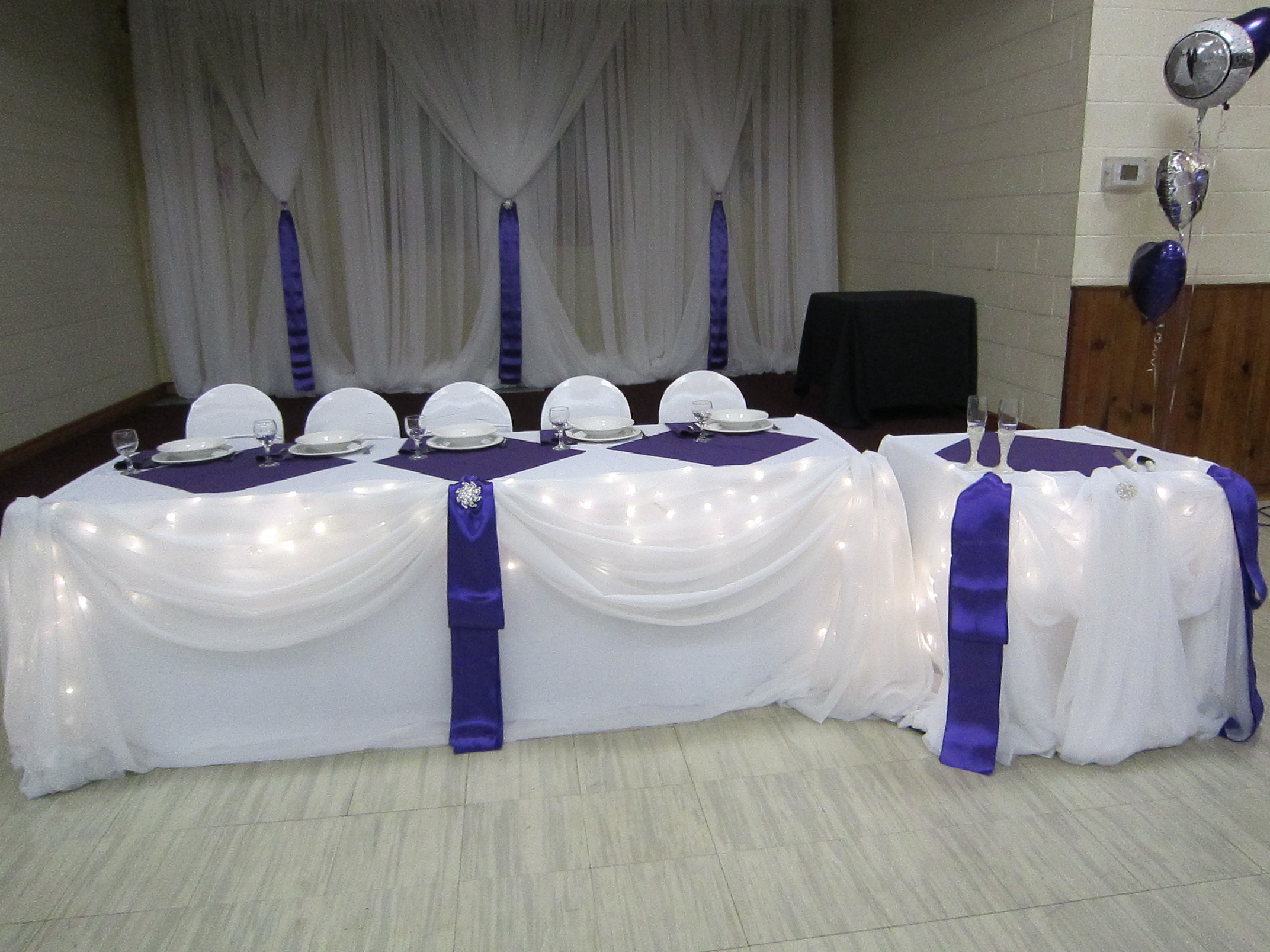 Backdrop Purple And Bling Wedding Decor