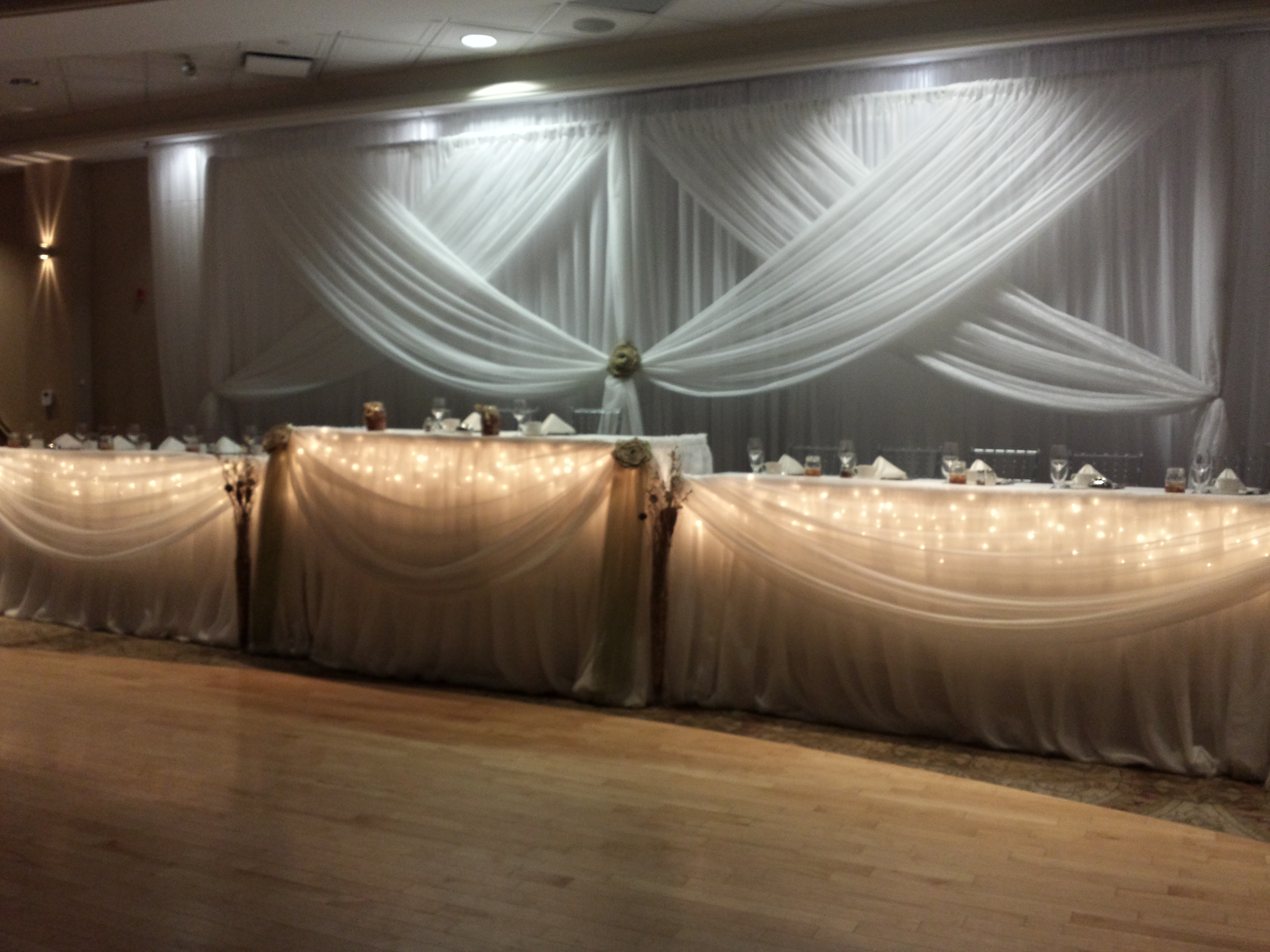 Head table set the mood decor for Backdrop decoration